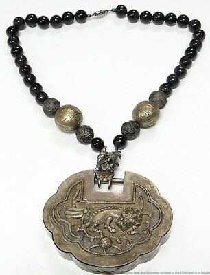 Huge Antique Qing Chinese Silver Dragon Hawks Eye Bead Stash Snuff Box Necklace