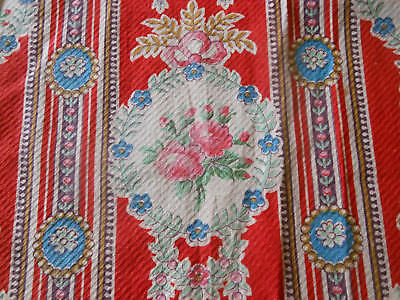 Antique 19thc French Red Roses Cameo Cartouche Cotton Fabric ~