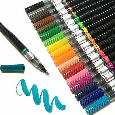 Pentel Colour Water Brush Pen - Refillable, Calligraphy, Manga - 12 Colours