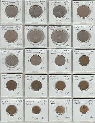 20 Hong Kong coins 5 cents to $5 1948 to 2012