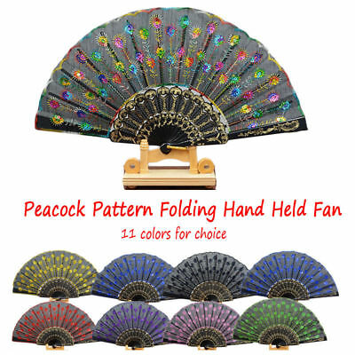 Dance Embroidered Sequin Fashion Wedding Peacock Pattern Folding Hand Held Fan