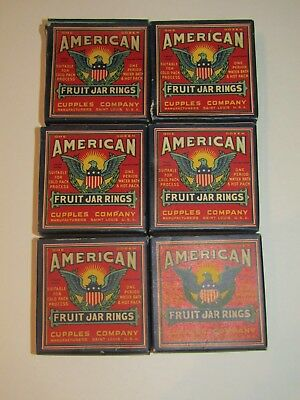 Vtg lot 6 boxes of 12 ea Cupples Co Rubber Fruit Jar Canning Rings St Louis MO