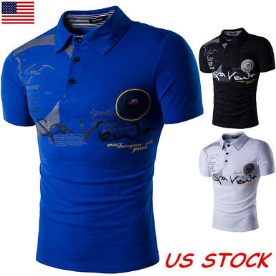USA Mens Stylish Slim Fit Short Sleeve Polo T Shirt Muscle Tee Shirt Casual Tops