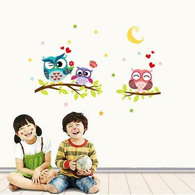 Colour Owl Birds Branch Wall Decal Removable Stickers Kids Nursery Art Mural LG