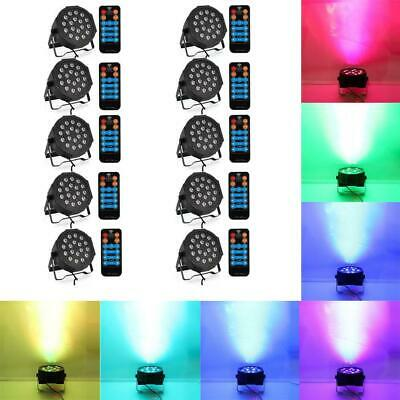 10pcs 80W 18-LED RGB DMX512 Mini DJ Bar Party Stage Light Uplighting w/ Remote