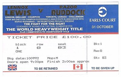 Lennox Lewis V Razor Ruddock 1992 Boxing Heavy Weight Title Fight Ticket