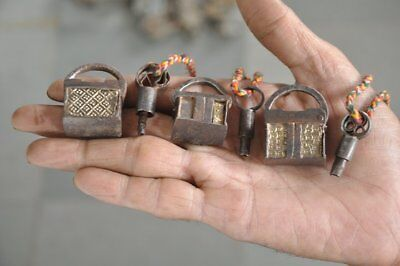3 Pc Old Iron Unique Shape Handcrafted Different Penny Screw Padlocks