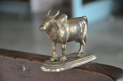 Old Brass Nickel Plated Handcrafted Unique Cow Figurine , Rich Patina