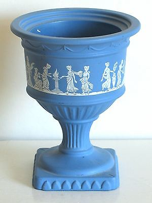 Avon vtg painted glass jar matte wedgewood blue finish Grecian godesses FREE SH