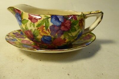 Royal Winton Grimwades Floral All Over Sweet Pea Cream Jug And Saucer