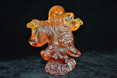 Vintage Old Handwork amber resin myth figure amulet china Culture wealthy Statue