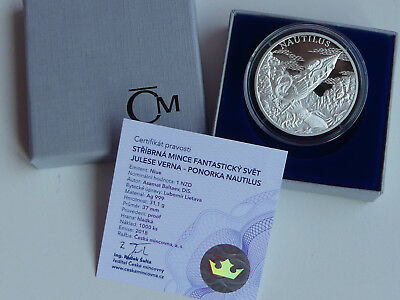 Tschechien 2018 Silber Münze Coin Pp Proof - Jules Verne - U-Boot Nautilus -