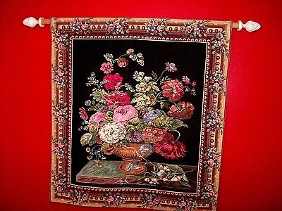 Large Vintage Corona Decor Co. Roses & Wild Flowers Bouquet Basket Wall Tapestry