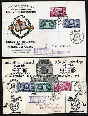South Africa 1949 2 Registered First Day Covers.   A781
