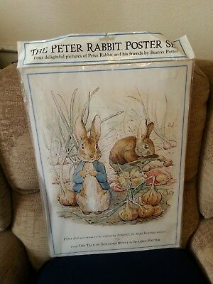 """Vintage The Peter Rabbit Poster Set Of 4 Posters 1995 F Warne 20"""" By 14.5"""""""