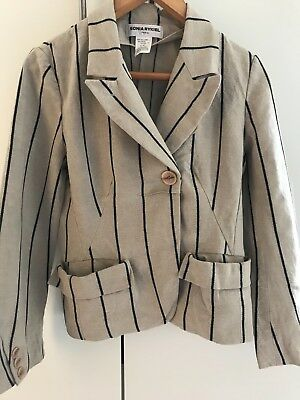 sonia rykiel little jacket, very cute, beige & black, size French 42