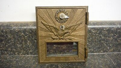 "Vintage Post Office Door Eagle Sunburst Large. Bronze. 5 1/2"" X 6 1/4"".  Vgc"