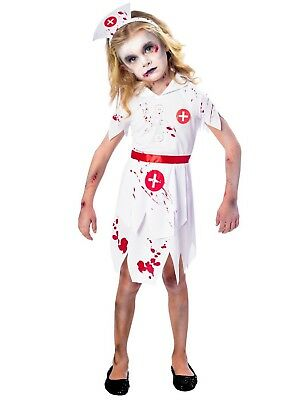 957ad3c4dae54 Girls Scary Bloody Zombie Nurse Halloween Fancy Dress Costume Outfit 5-12yrs