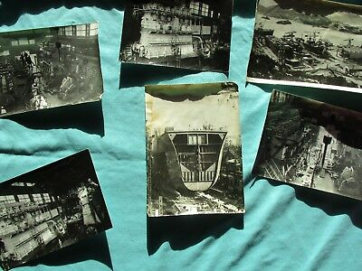 1950's (9) Ship Building,Detailed unknown ships,location/ORIGINAL Photograph lot