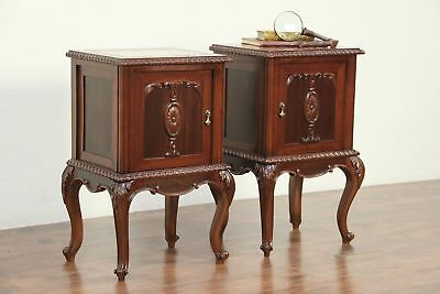 Pair Mahogany Carved Nightstands or End Tables, Marble Tops, Italy #29084