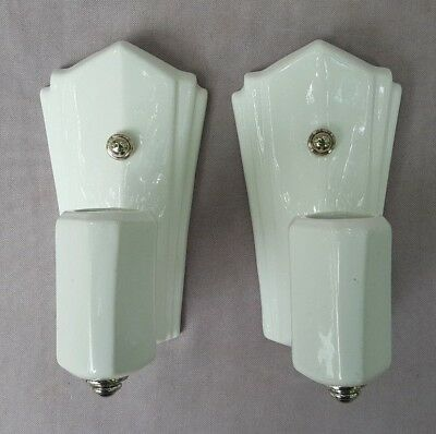 Pair of Antique or Vintage Art Deco, White Ceramic Sconces, modern wiring