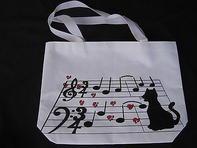 Cat on Music Notes Tote Bag 17 x 11.5 White Canvas Great Gift So Cute Brand NEW