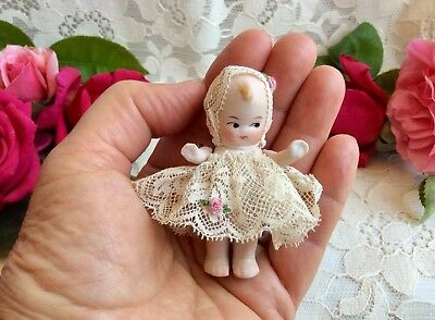 Tiny Antique German All Bisque Googly Eyed Baby Girl Doll Nice Lace Clothes Rose