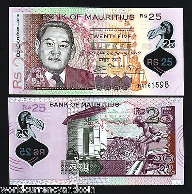 MAURITIUS 25 RUPEES 2013 POLYMER HA 1st PFX CHUEN UNC CURRENCY MONEY BILL NOTE