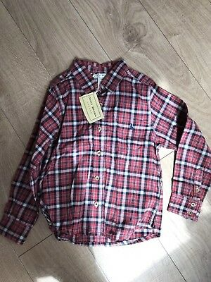 BARGAIN - DARCY BROWN boys Red Checked Calgary shirt Age 6 Rrp £36.99