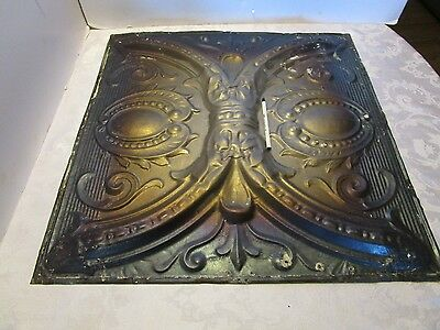 "Antique Victorian Ceiling Tin Metal Wall Tile panel Reclaimed  24 ½""' x 24 ½"" 3D"