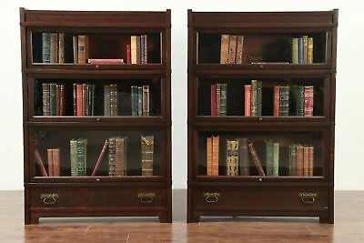 Pair of Mission Oak Antique 3 Stacking Lawyer Bookcases, Globe Wernicke #29158