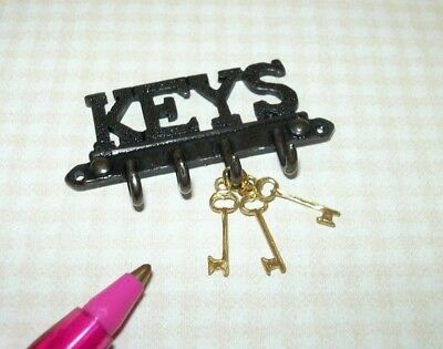 "Miniature Sturdy Metal ""KEYS"" Wall Key Rack w/4 Hooks/Gold Keys: DOLLHOUSE 1/12"