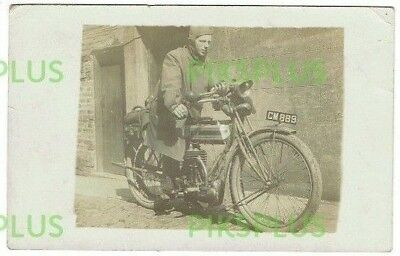 Old Postcard Early Motorcycle & Rider Real Photo Vintage C.1910