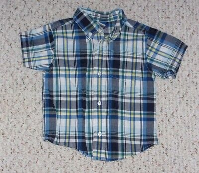 Navy, Blue, White & Yellow Plaid Gymboree S/S Shirt, Space Voyager, 18-24 months