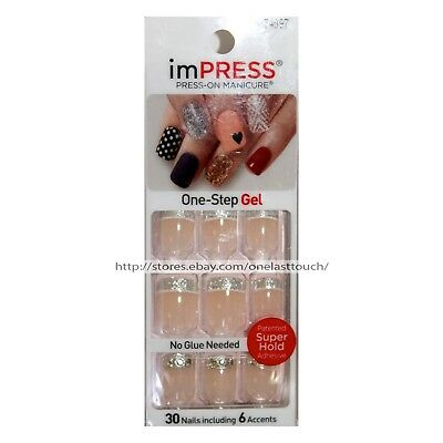 KISS imPRESS Press-On STALKER 30 Nails+Accent SILVER GLITTER TIP+JEWELS #74097