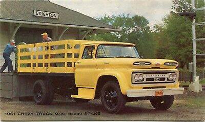 1961 Chevrolet Model C5309 Stake Truck Automobile Car Dealer Factory Postcard
