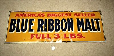 1920's BLUE LABEL MALT 3 lb cans EMBOSSED TIN SIGN  Peoria Heights, ILL