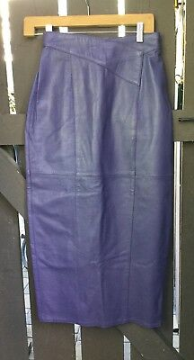 Womens Purple Leather High Waist Vintage Pencil Skirt By Suzelle. Size 6.