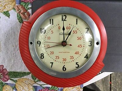 Vintage Telechron Electric Clock Mid Century Red Battery Operated Conversion NR