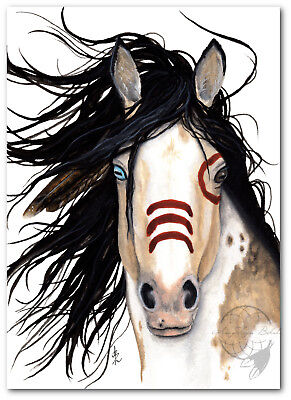 MM136 Majestic Pinto Horse Spirit Paint Feathers - Signed Bihrle Art Print 16x20