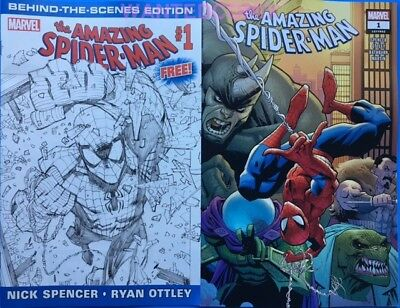 Amazing Spider-Man #1 & Free Behind The Scenes Sketch Promo Comic Lot July 2018