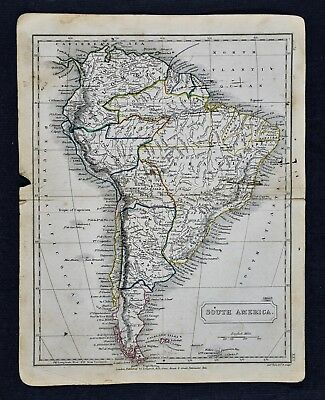 c 1840 Sydney Hall Map South America Brazil Peru Argentina Colombia Chili Amazon