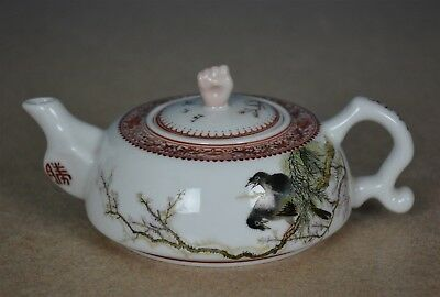 Superb Antique Chinese Famille Rose Porcelain Teapot Marked Yu Hanqing A8301