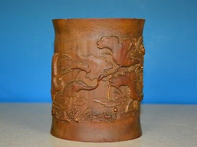 Fine Antique Chinese Bamboo Brush Pot Well Carved Rare Q3910
