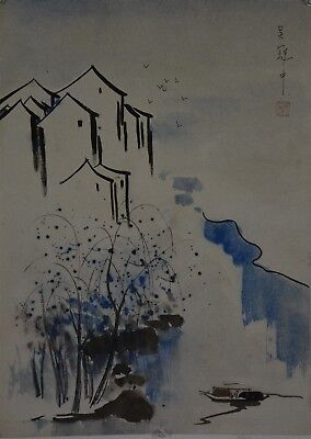 Unique Large Chinese Water Color Painting Signed Master Wu Guanzhong S8967