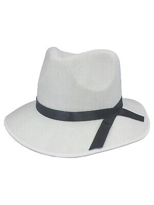 White Felt 20 S Gangster Fedora Mob Hat With Black Band Adult Costume  Accessory 6a8889f8df8d