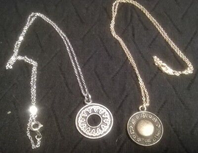 Lot 2 Necklace & Chain Wiccan Pewter Celtic Knot Brass Norse Rune Pagan Charms