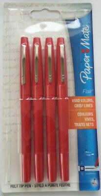 12 Paper Mate FLAIR RED FELT TIP PENS Medium Point  Free Shipping !!