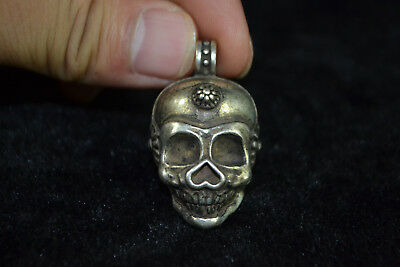 china Collectible Hallowmas Tibet Silver Carve skull man amulet Pendant statue