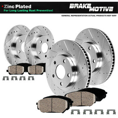 Front & Rear Drill Slot BRAKE ROTORS AND CERAMIC Pads For 00 - 04 F150 4WD 4X4